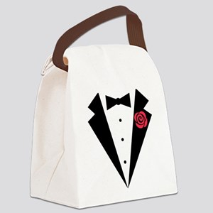 Funny Tuxedo [red rose] Canvas Lunch Bag